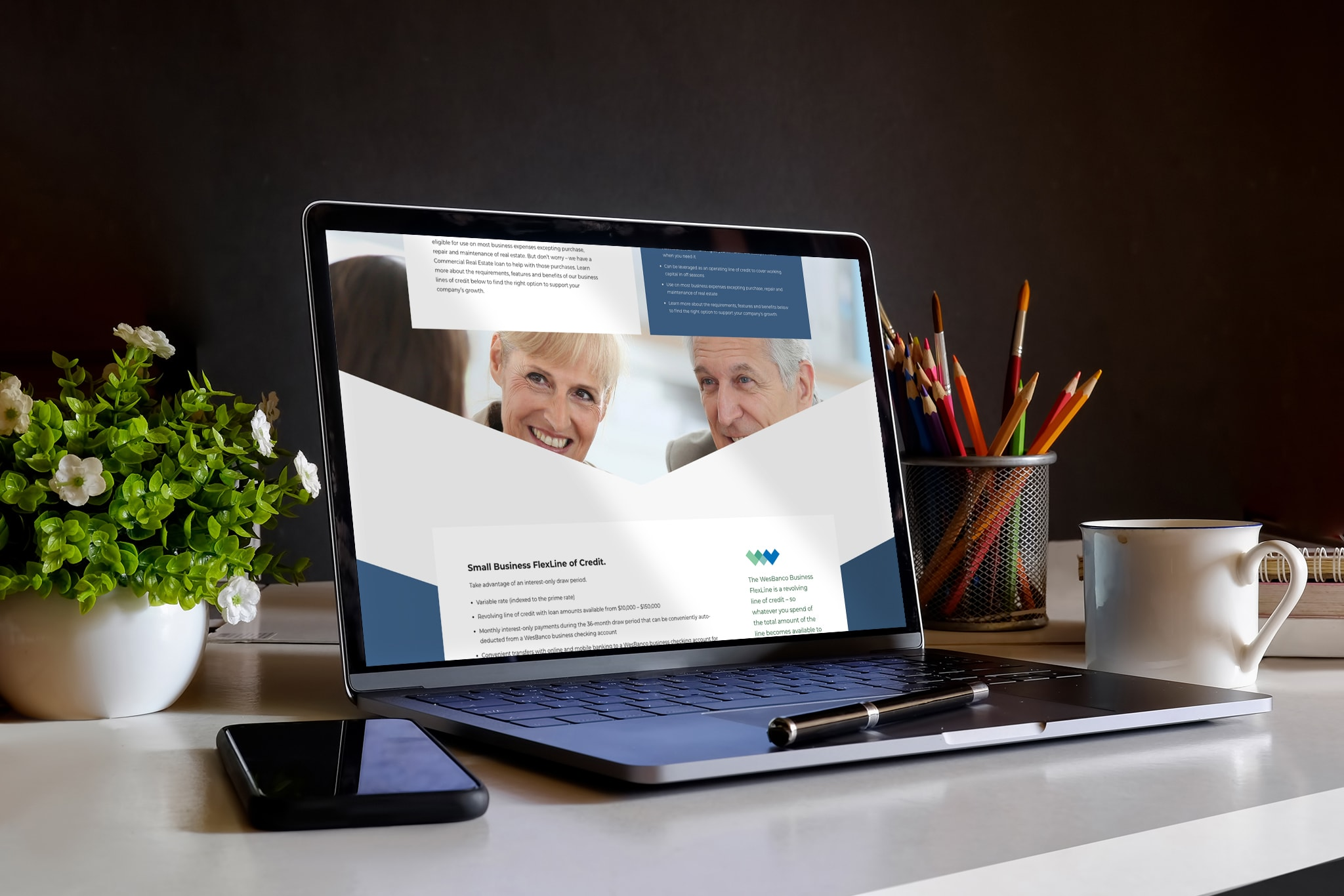 Image of website on laptop